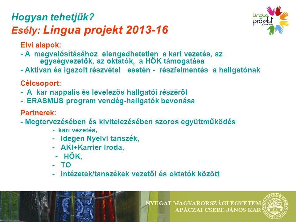 Hogyan tehetjük? Esély: Lingua projekt 2013-16 Elvi alapok: - A megvalósításához elengedhetetlen a kari vezetés, az egységvezetők, az oktatók, a HÖK t