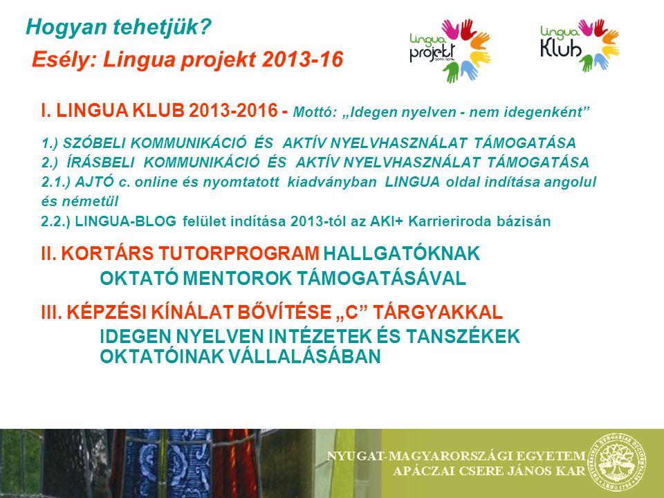 """Hogyan tehetjük? Esély: Lingua projekt 2013-16 I. LINGUA KLUB 2013-2016 - Mottó: """"Idegen nyelven - nem idegenként"""" 1.) SZÓBELI KOMMUNIKÁCIÓ ÉS AKTÍV N"""