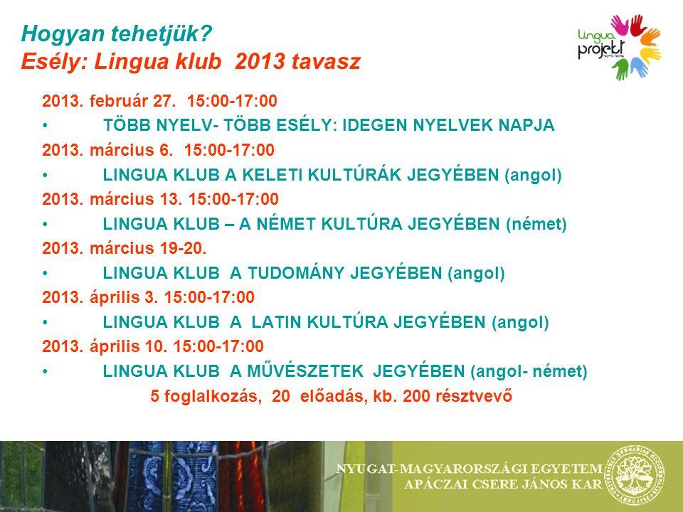 Hogyan tehetjük? Esély: Lingua klub 2013 tavasz 2013. február 27. 15:00-17:00 TÖBB NYELV- TÖBB ESÉLY: IDEGEN NYELVEK NAPJA 2013. március 6. 15:00-17:0