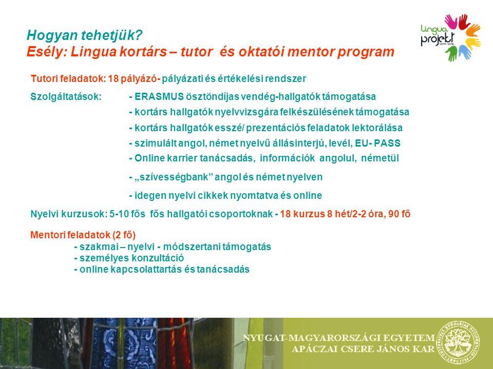 Hogyan tehetjük? Esély: Lingua kortárs – tutor és oktatói mentor program Tutori feladatok: 18 pályázó- pályázati és értékelési rendszer Szolgáltatások