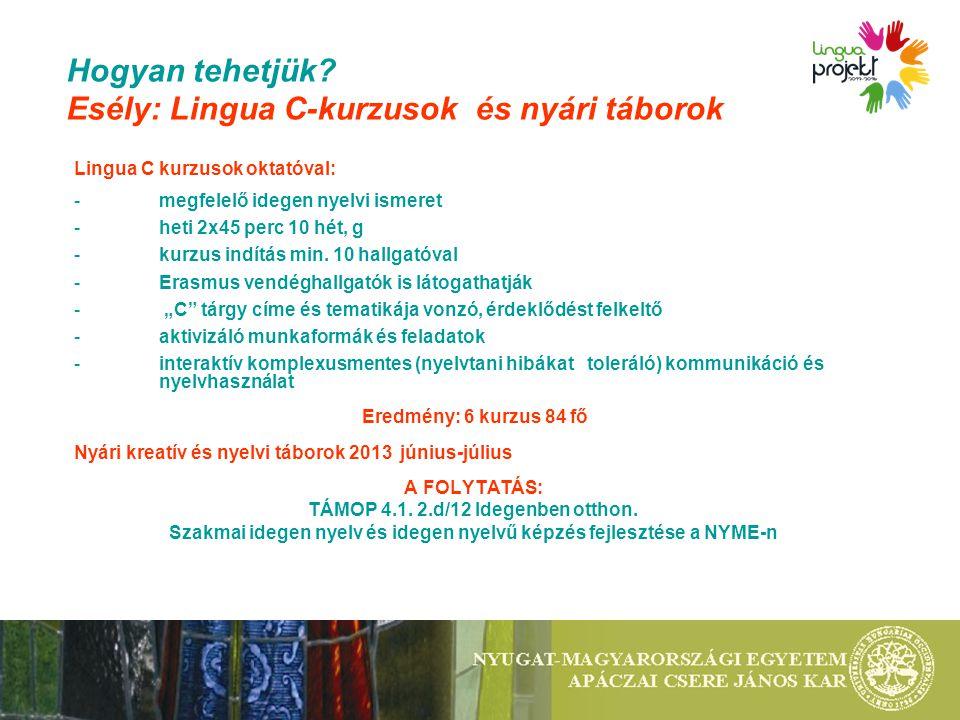 Hogyan tehetjük? Esély: Lingua C-kurzusok és nyári táborok Lingua C kurzusok oktatóval: -megfelelő idegen nyelvi ismeret -heti 2x45 perc 10 hét, g -ku
