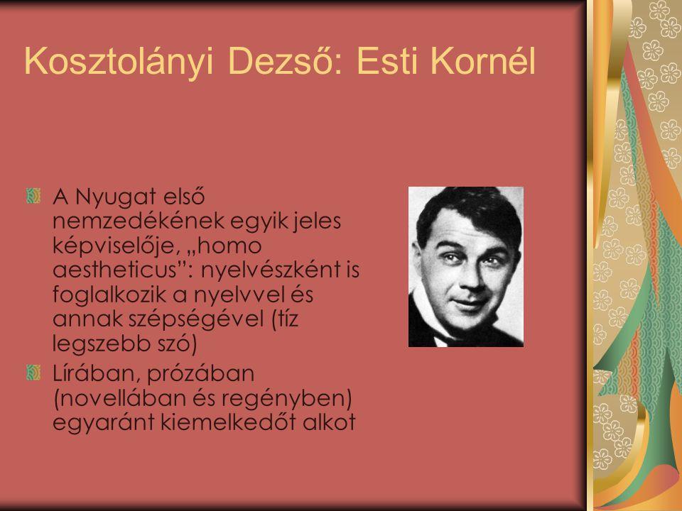 """A Nyugat első nemzedékének egyik jeles képviselője, """"homo aestheticus : nyelvészként is foglalkozik a nyelvvel és annak szépségével (tíz legszebb szó) Lírában, prózában (novellában és regényben) egyaránt kiemelkedőt alkot"""