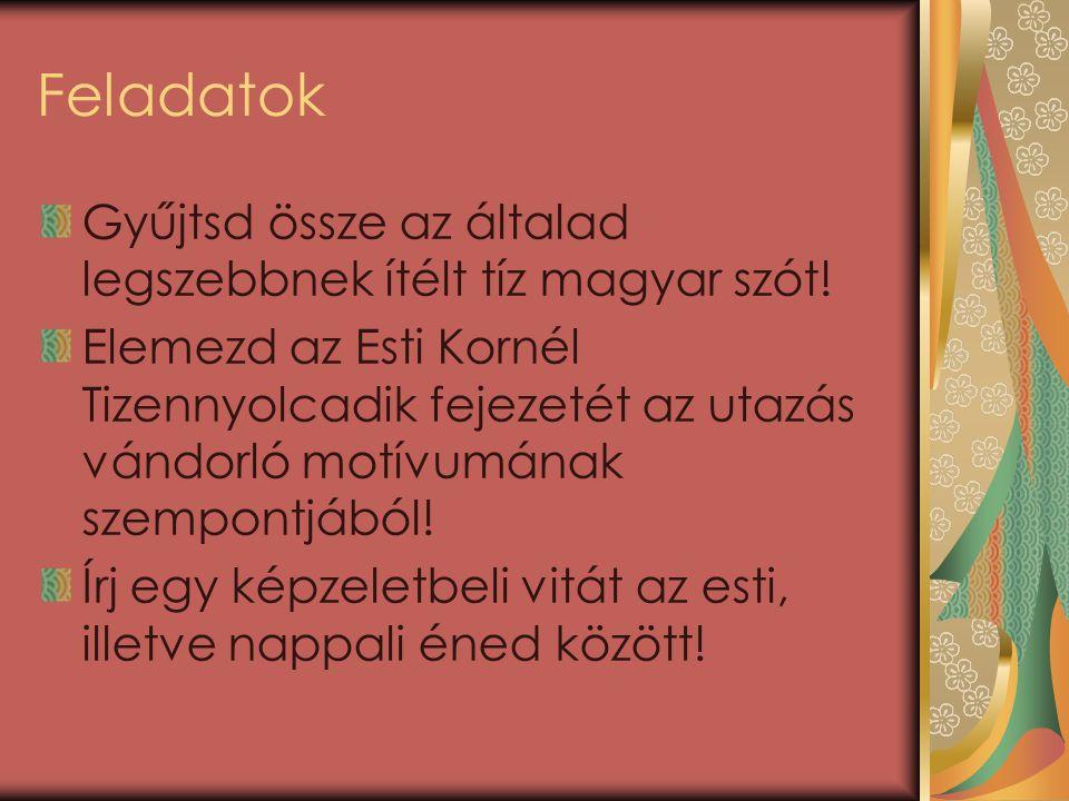 Feladatok Gyűjtsd össze az általad legszebbnek ítélt tíz magyar szót.