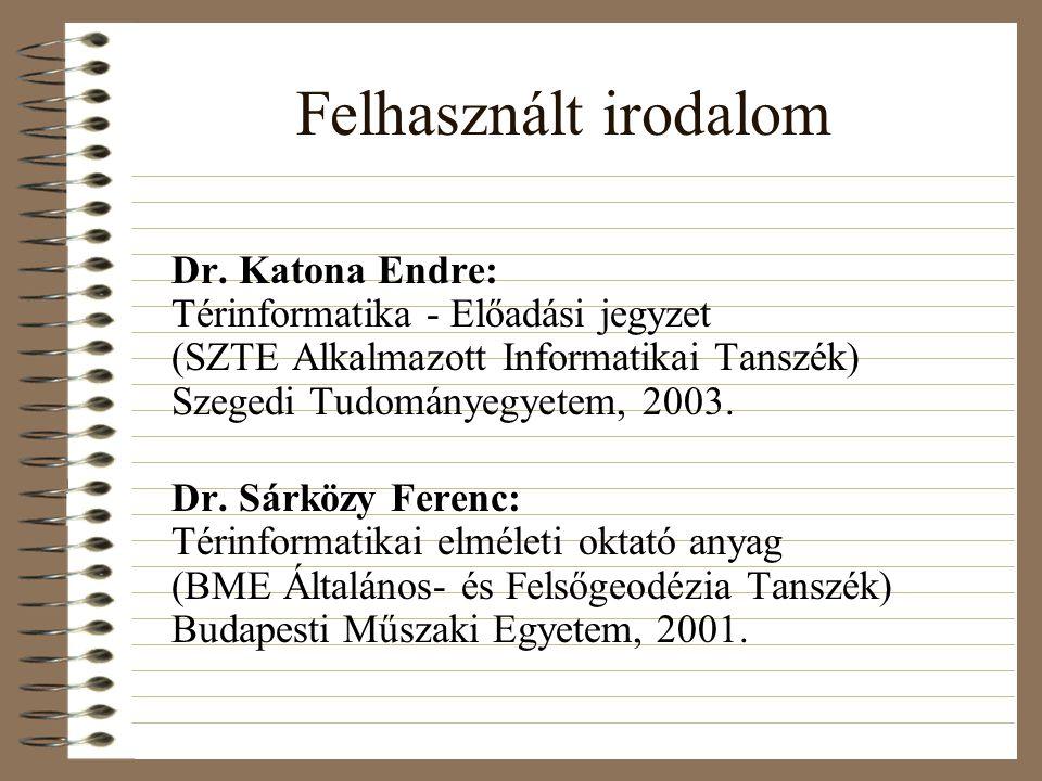 Felhasznált irodalom Dr. Katona Endre: Térinformatika - Előadási jegyzet (SZTE Alkalmazott Informatikai Tanszék) Szegedi Tudományegyetem, 2003. Dr. Sá