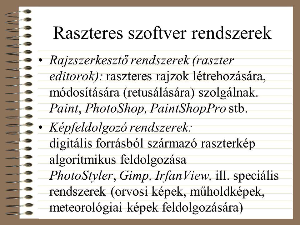 Raszteres szoftver rendszerek Rajzszerkesztő rendszerek (raszter editorok): raszteres rajzok létrehozására, módosítására (retusálására) szolgálnak.