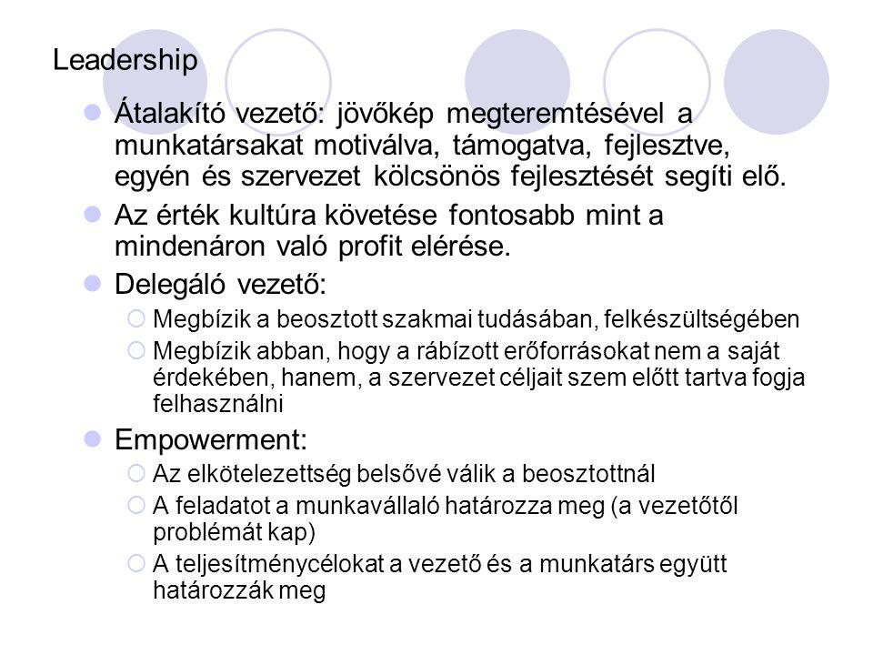 Leadership Átalakító vezető: jövőkép megteremtésével a munkatársakat motiválva, támogatva, fejlesztve, egyén és szervezet kölcsönös fejlesztését segít