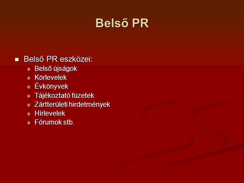 Belső PR Tömegkommunikáció Tömegkommunikáció Mit érdemes közhírré tenni.