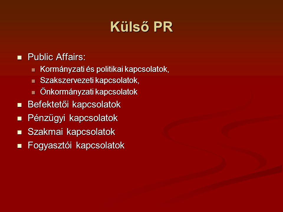 Külső PR Public Affairs: Public Affairs: Kormányzati és politikai kapcsolatok, Kormányzati és politikai kapcsolatok, Szakszervezeti kapcsolatok, Szakszervezeti kapcsolatok, Önkormányzati kapcsolatok Önkormányzati kapcsolatok Befektetői kapcsolatok Befektetői kapcsolatok Pénzügyi kapcsolatok Pénzügyi kapcsolatok Szakmai kapcsolatok Szakmai kapcsolatok Fogyasztói kapcsolatok Fogyasztói kapcsolatok