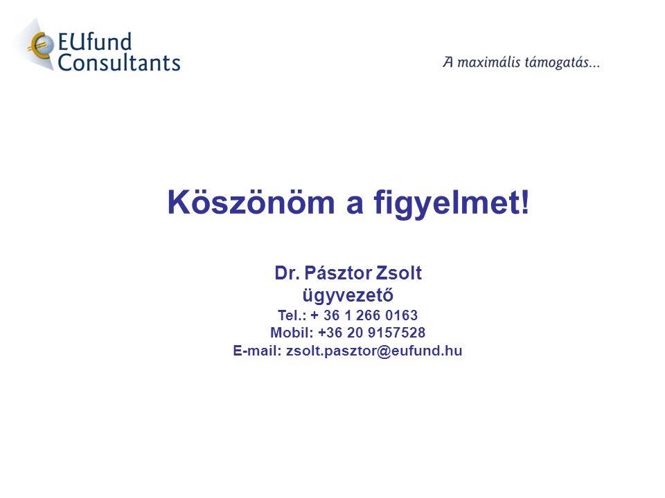 Köszönöm a figyelmet! Dr. Pásztor Zsolt ügyvezető Tel.: + 36 1 266 0163 Mobil: +36 20 9157528 E-mail: zsolt.pasztor@eufund.hu