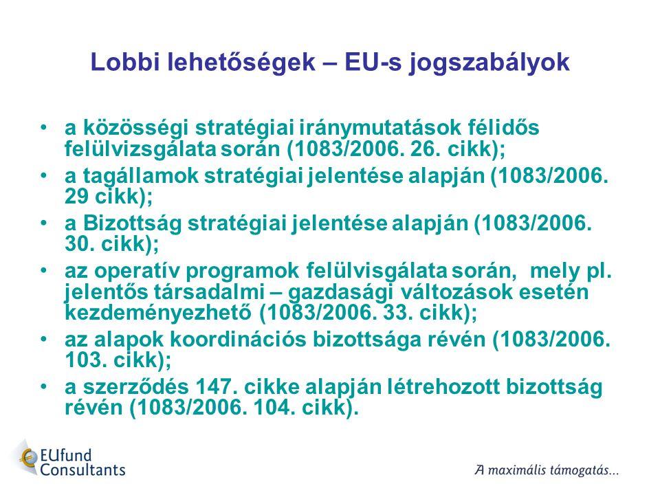 Lobbi lehetőségek – EU-s jogszabályok a közösségi stratégiai iránymutatások félidős felülvizsgálata során (1083/2006. 26. cikk); a tagállamok stratégi