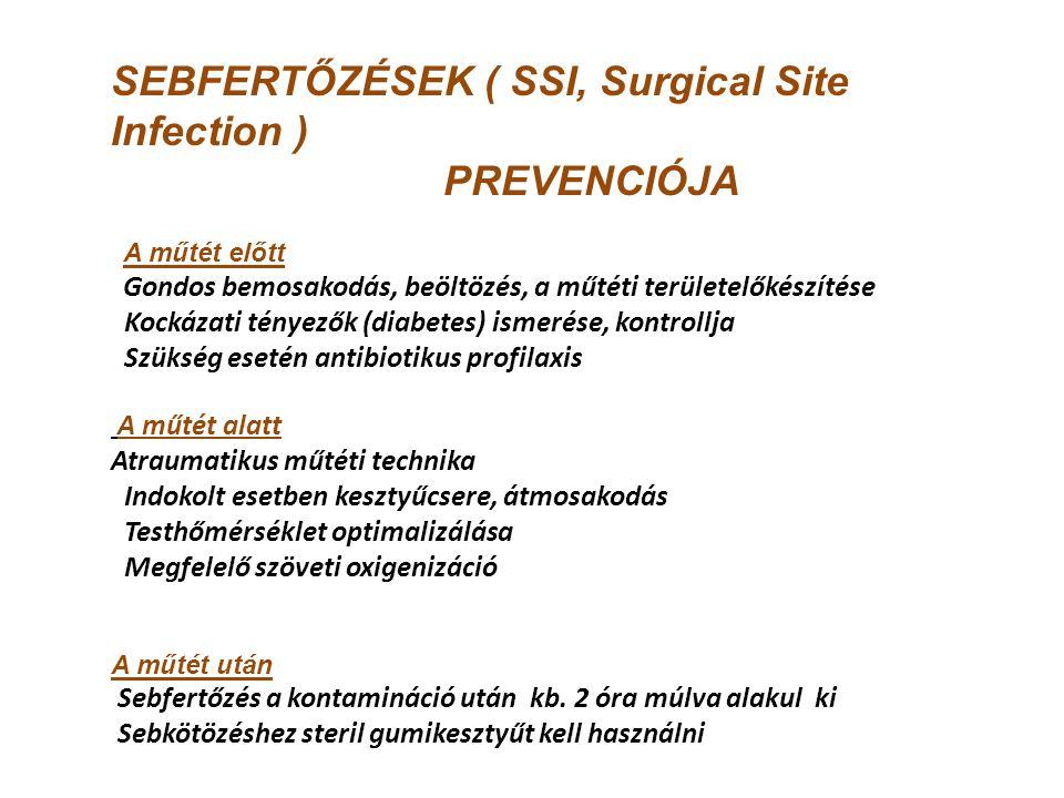 SEBFERTŐZÉSEK ( SSI, Surgical Site Infection ) PREVENCIÓJA A műtét előtt Gondos bemosakodás, beöltözés, a műtéti területelőkészítése Kockázati tényező