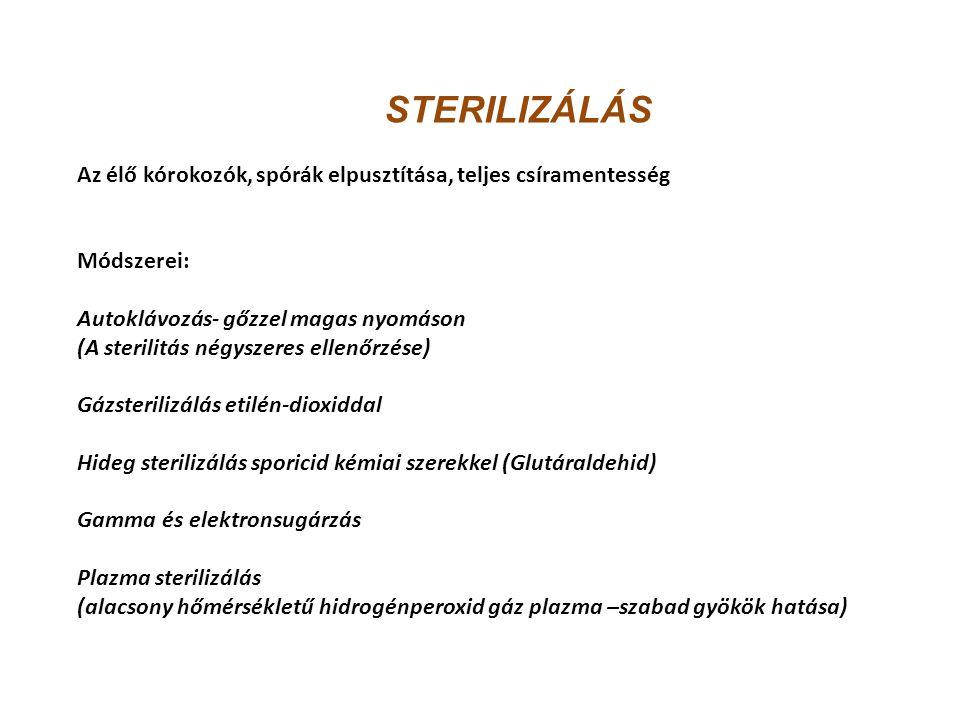 STERILIZÁLÁS Az élő kórokozók, spórák elpusztítása, teljes csíramentesség Módszerei: Autoklávozás- gőzzel magas nyomáson (A sterilitás négyszeres elle