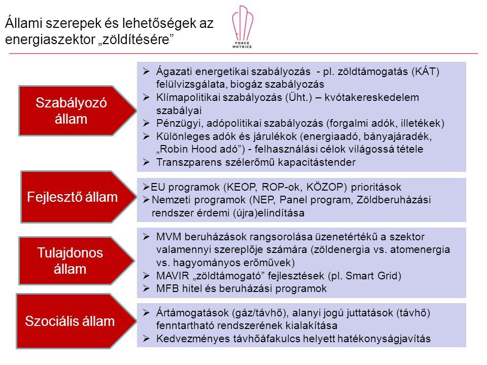 """Állami szerepek és lehetőségek az energiaszektor """"zöldítésére Fejlesztő állam Tulajdonos állam Szabályozó állam Szociális állam  EU programok (KEOP, ROP-ok, KÖZOP) prioritások  Nemzeti programok (NEP, Panel program, Zöldberuházási rendszer érdemi (újra)elindítása  Ágazati energetikai szabályozás - pl."""