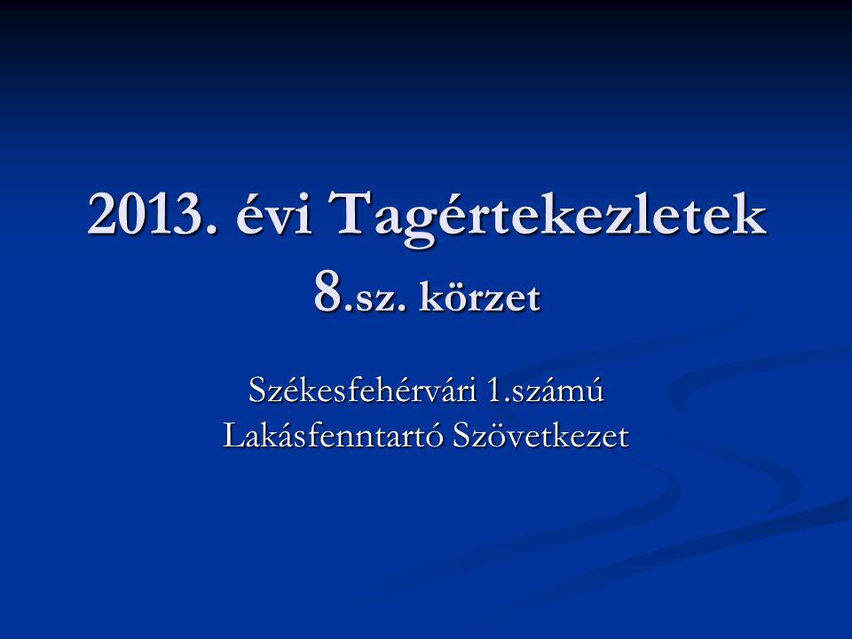 2013. évi Tagértekezletek 8.sz. körzet Székesfehérvári 1.számú Lakásfenntartó Szövetkezet