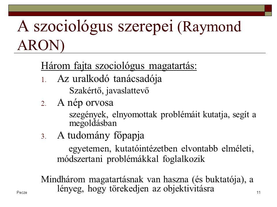 Pecze11 A szociológus szerepei (Raymond ARON) Három fajta szociológus magatartás: 1. Az uralkodó tanácsadója Szakértő, javaslattevő 2. A nép orvosa sz