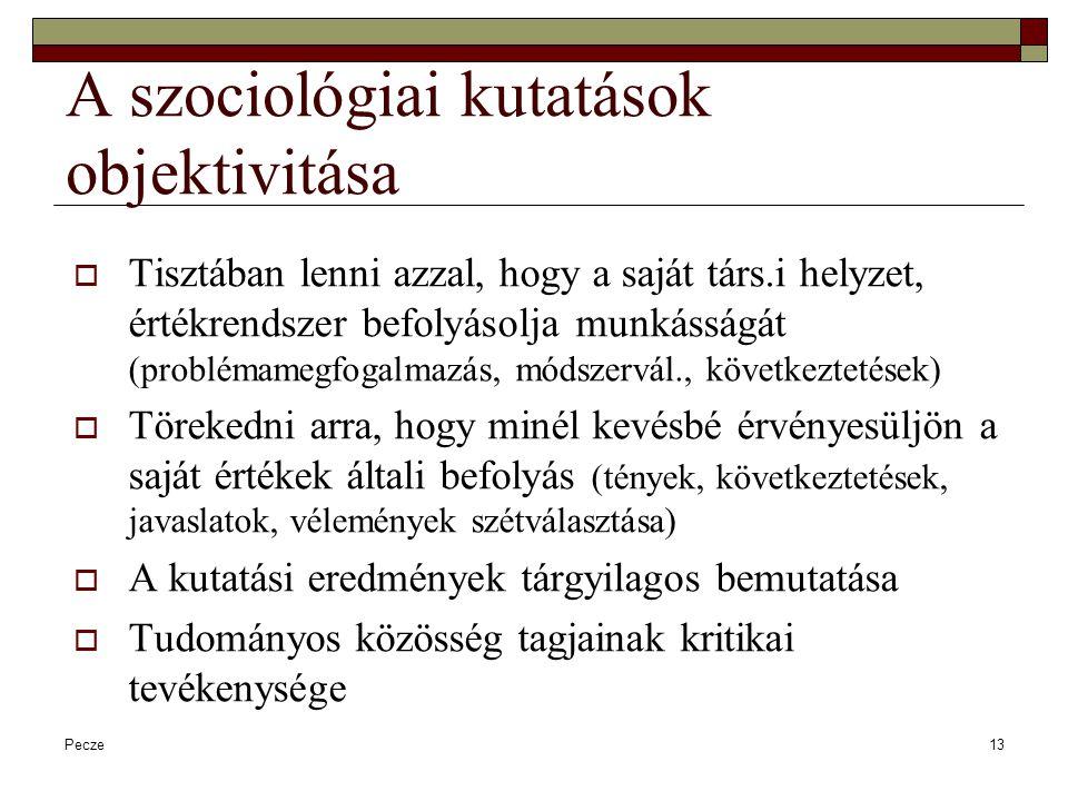 Pecze13 A szociológiai kutatások objektivitása  Tisztában lenni azzal, hogy a saját társ.i helyzet, értékrendszer befolyásolja munkásságát (problémam