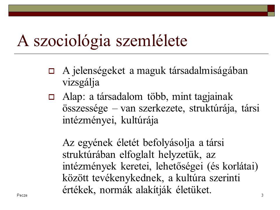 Pecze3 A szociológia szemlélete  A jelenségeket a maguk társadalmiságában vizsgálja  Alap: a társadalom több, mint tagjainak összessége – van szerke