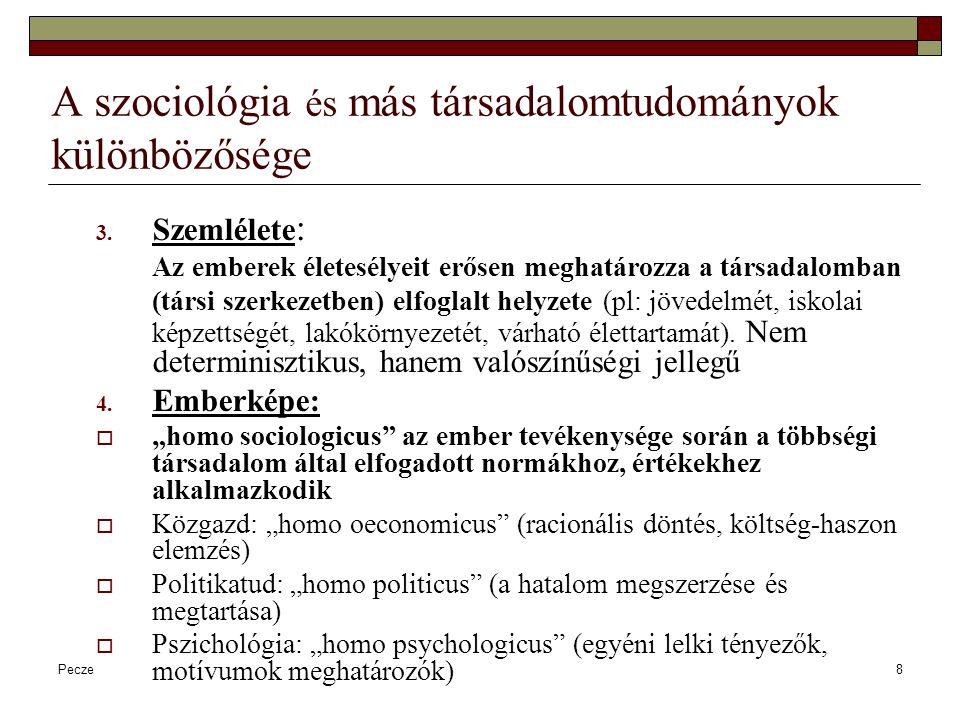 """Pecze9 Szociológia és más társadalomtudományok szociológiaKözgaz- daságtan Demog- ráfia Politikatud.Pszichológia, szoc-pszicho Tárgy A társadalom egésze gazdaságNépesedési folyamatok politikaEgyéni viselkedések (és csoport össz.) Módszer Adatgyűjtés, statisztika Dedukció (általánostól egyedi felé) statisztikaJogszabály- intézmény- elemzés kísérlet Ember- kép """"homo sociologicus (társi normák, értékek) """"homo oeconomicu s (racionális döntés) """"homo politicus (hatalom megszerzése) """"homo psychologicus (egyedi lelki tényezők)"""