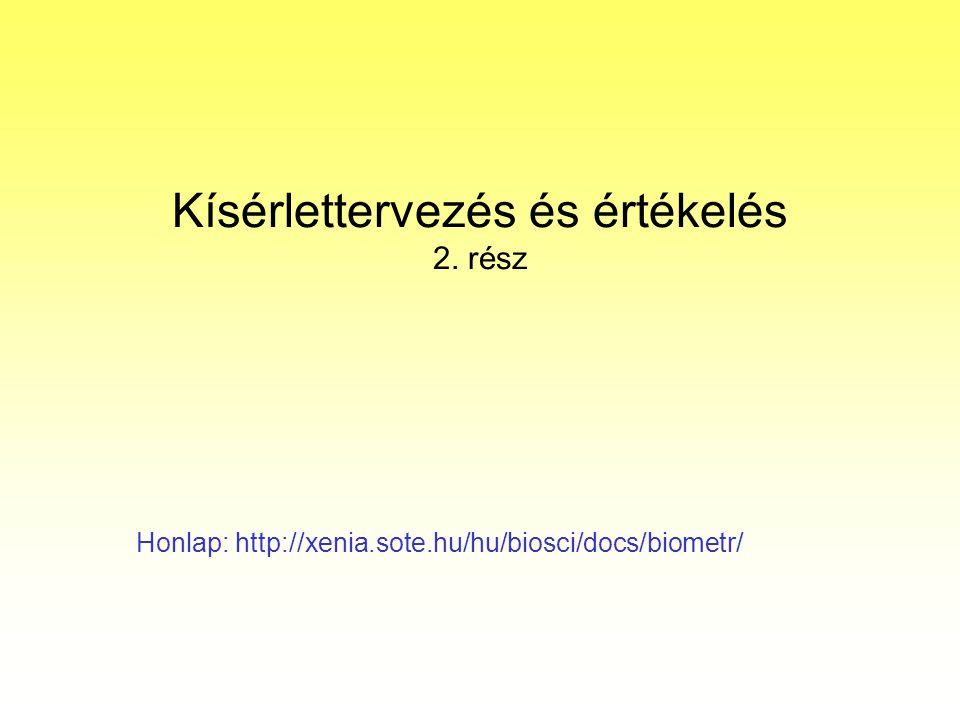 Kísérlettervezés és értékelés 2. rész Honlap: http://xenia.sote.hu/hu/biosci/docs/biometr/