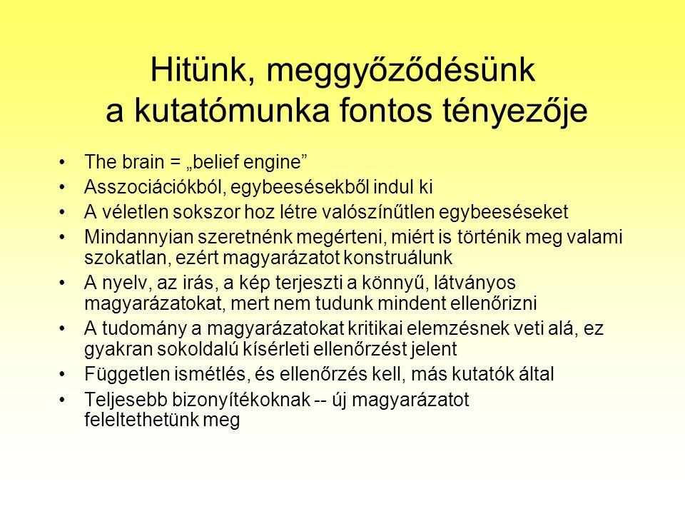 """Hitünk, meggyőződésünk a kutatómunka fontos tényezője The brain = """"belief engine Asszociációkból, egybeesésekből indul ki A véletlen sokszor hoz létre valószínűtlen egybeeséseket Mindannyian szeretnénk megérteni, miért is történik meg valami szokatlan, ezért magyarázatot konstruálunk A nyelv, az irás, a kép terjeszti a könnyű, látványos magyarázatokat, mert nem tudunk mindent ellenőrizni A tudomány a magyarázatokat kritikai elemzésnek veti alá, ez gyakran sokoldalú kísérleti ellenőrzést jelent Független ismétlés, és ellenőrzés kell, más kutatók által Teljesebb bizonyítékoknak -- új magyarázatot feleltethetünk meg"""