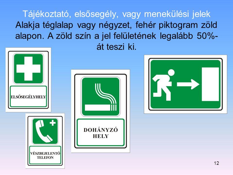12 Tájékoztató, elsősegély, vagy menekülési jelek Alakja téglalap vagy négyzet, fehér piktogram zöld alapon. A zöld szín a jel felületének legalább 50