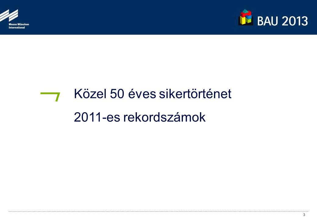 1.920 2.043 1.913 1.780 1.147 677 300 2.058 Forrás: DWH (Datawarehouse) Messe München BAU 2011 2.058 kiállító 46 országból (+3) Minden csarnok teljesen megtelt (180.000 m 2 ) + szabadterület (2.500 m 2 ) BAU 2011: minden eddiginél magasabb nemzetközi kiállítói részvétel (26% külföldi kiállító) 4