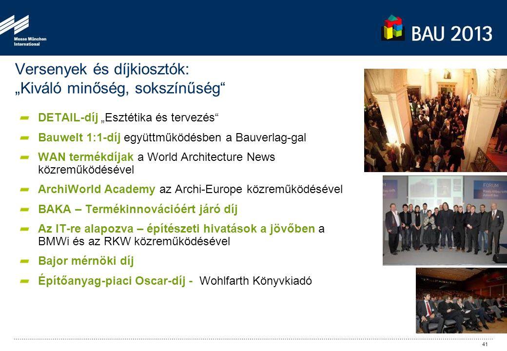 """Versenyek és díjkiosztók: """"Kiváló minőség, sokszínűség"""" DETAIL-díj """"Esztétika és tervezés"""" Bauwelt 1:1-díj együttműködésben a Bauverlag-gal WAN termék"""