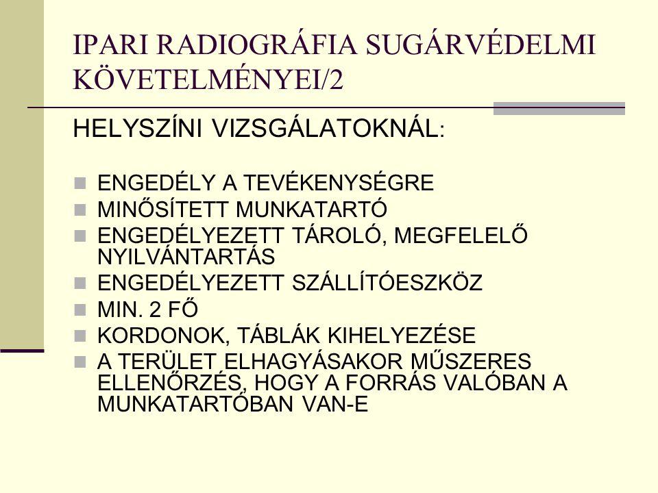 IPARI RADIOGRÁFIA SUGÁRVÉDELMI KÖVETELMÉNYEI/2 HELYSZÍNI VIZSGÁLATOKNÁL : ENGEDÉLY A TEVÉKENYSÉGRE MINŐSÍTETT MUNKATARTÓ ENGEDÉLYEZETT TÁROLÓ, MEGFELE