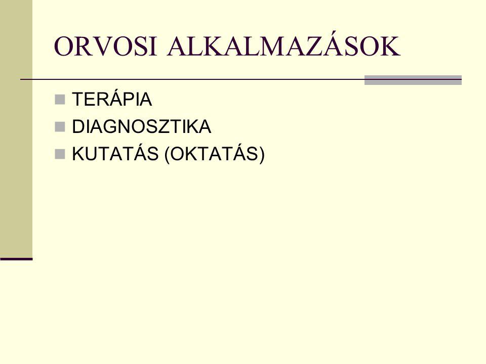 ORVOSI ALKALMAZÁSOK TERÁPIA DIAGNOSZTIKA KUTATÁS (OKTATÁS)