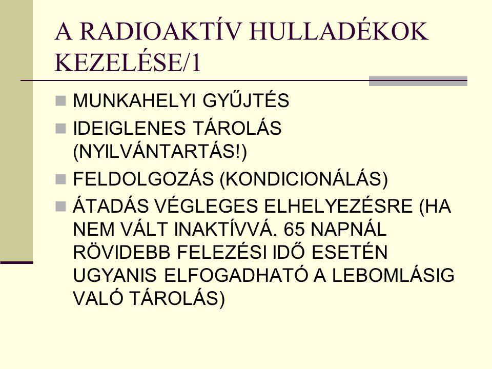 A RADIOAKTÍV HULLADÉKOK KEZELÉSE/1 MUNKAHELYI GYŰJTÉS IDEIGLENES TÁROLÁS (NYILVÁNTARTÁS!) FELDOLGOZÁS (KONDICIONÁLÁS) ÁTADÁS VÉGLEGES ELHELYEZÉSRE (HA