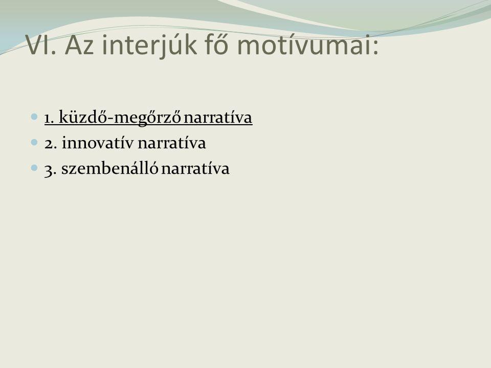 VI. Az interjúk fő motívumai: 1. küzdő-megőrző narratíva 2. innovatív narratíva 3. szembenálló narratíva