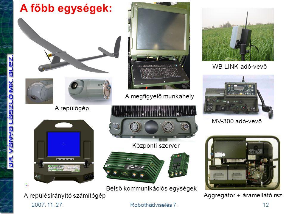12 2007. 11. 27.Robothadviselés 7. A főbb egységek: A repülésirányító számítógép A megfigyelő munkahely Aggregátor + áramellátó rsz. WB LINK adó-vevő