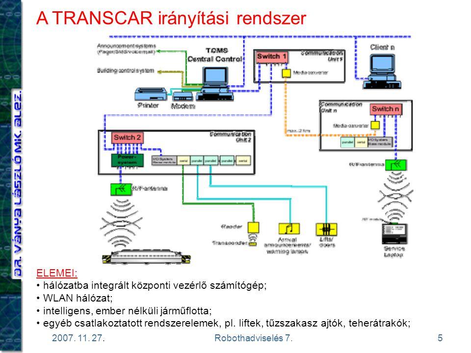 5 2007. 11. 27.Robothadviselés 7. A TRANSCAR irányítási rendszer ELEMEI: hálózatba integrált központi vezérlő számítógép; WLAN hálózat; intelligens, e