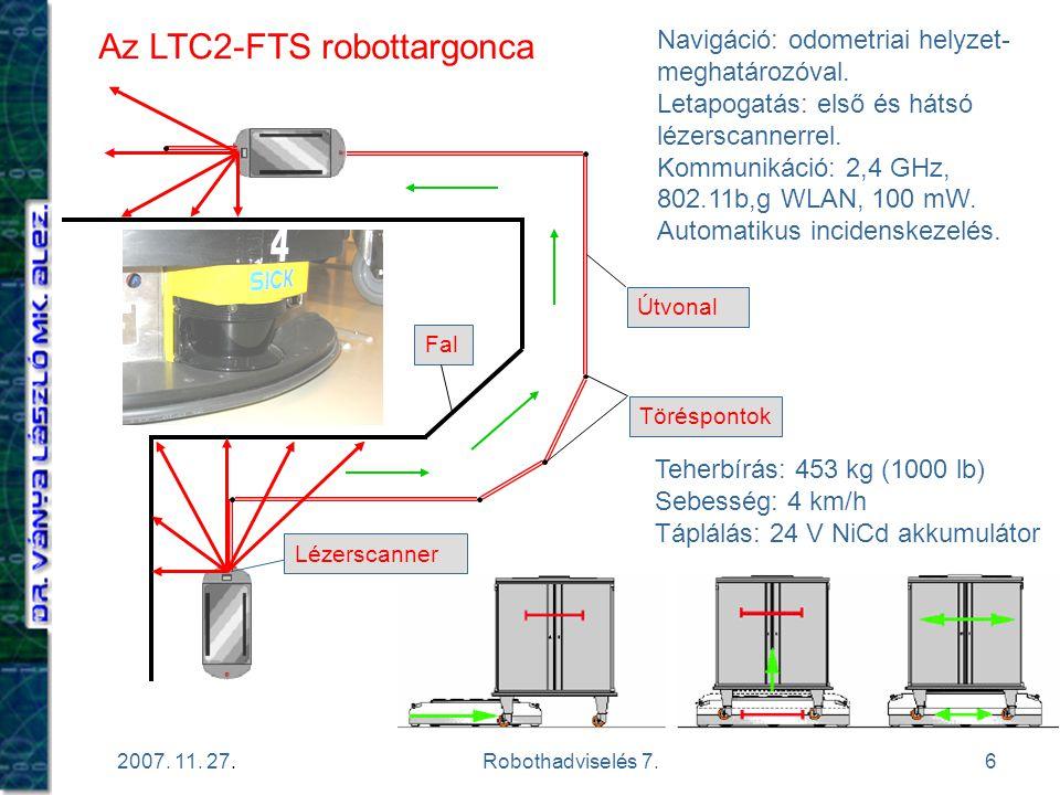 6 2007. 11. 27.Robothadviselés 7. Az LTC2-FTS robottargonca Töréspontok Útvonal Fal Navigáció: odometriai helyzet- meghatározóval. Letapogatás: első é