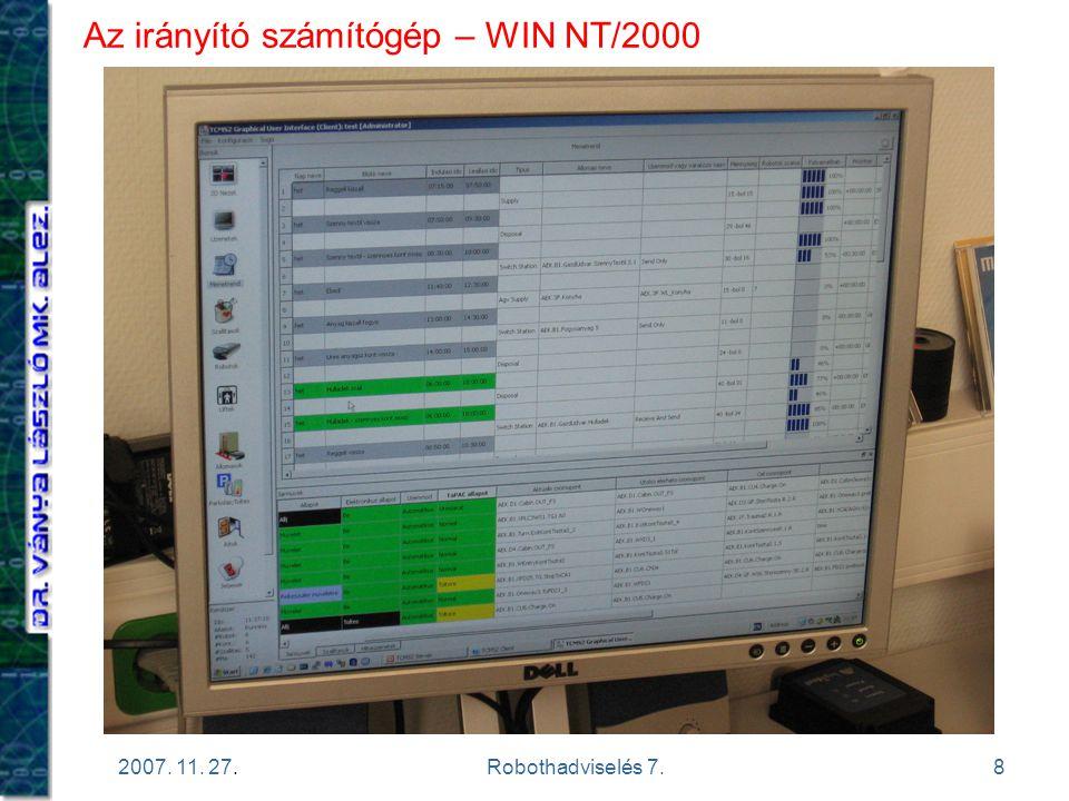 8 2007. 11. 27.Robothadviselés 7. Az irányító számítógép – WIN NT/2000