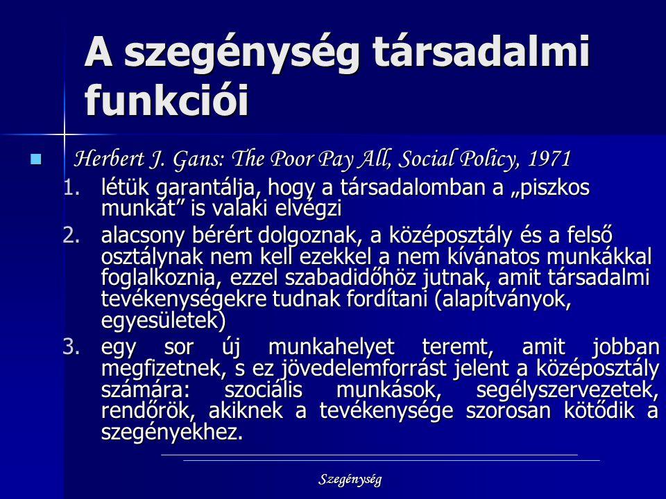 Szegénység A szegénység társadalmi funkciói Herbert J. Gans: The Poor Pay All, Social Policy, 1971 Herbert J. Gans: The Poor Pay All, Social Policy, 1