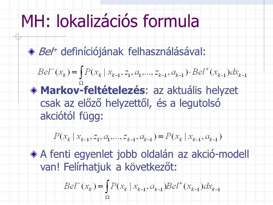 MH: lokalizációs formula Bel + definíciójának felhasználásával: Markov-feltételezés: az aktuális helyzet csak az előző helyzettől, és a legutolsó akciótól függ: A fenti egyenlet jobb oldalán az akció-modell van.