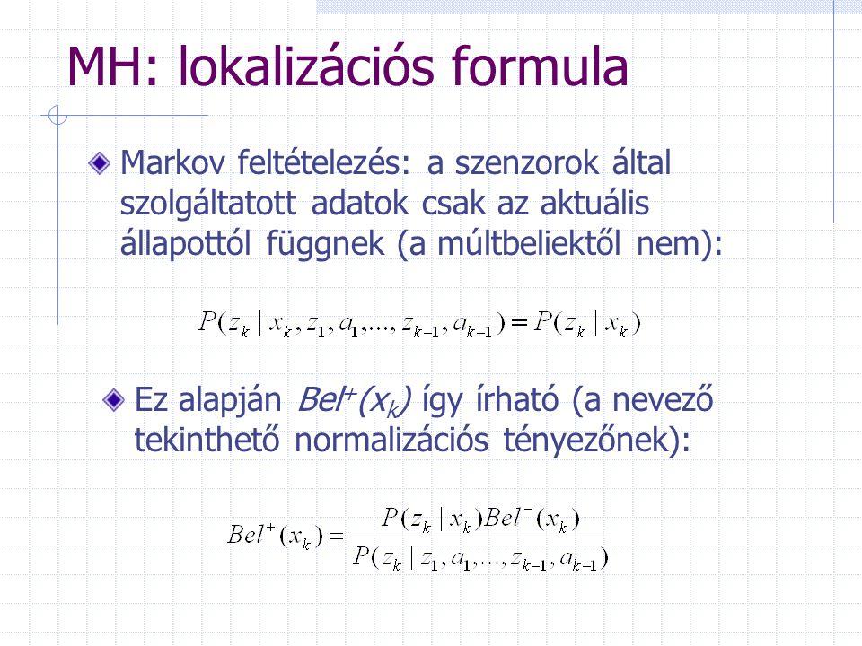 MH: lokalizációs formula Markov feltételezés: a szenzorok által szolgáltatott adatok csak az aktuális állapottól függnek (a múltbeliektől nem): Ez alapján Bel + (x k ) így írható (a nevező tekinthető normalizációs tényezőnek):