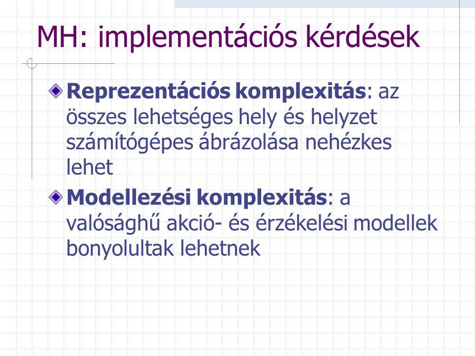 MH: implementációs kérdések Reprezentációs komplexitás: az összes lehetséges hely és helyzet számítógépes ábrázolása nehézkes lehet Modellezési komplexitás: a valósághű akció- és érzékelési modellek bonyolultak lehetnek