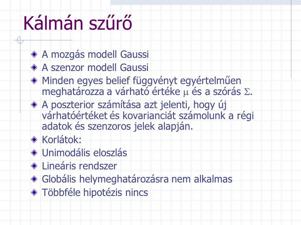 Kálmán szűrő A mozgás modell Gaussi A szenzor modell Gaussi Minden egyes belief függvényt egyértelműen meghatározza a várható értéke  és a szórás .