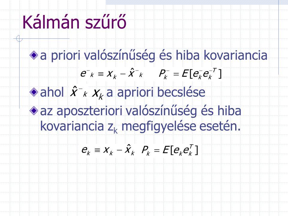 Kálmán szűrő a priori valószínűség és hiba kovariancia ahol x k a apriori becslése az aposzteriori valószínűség és hiba kovariancia z k megfigyelése esetén.