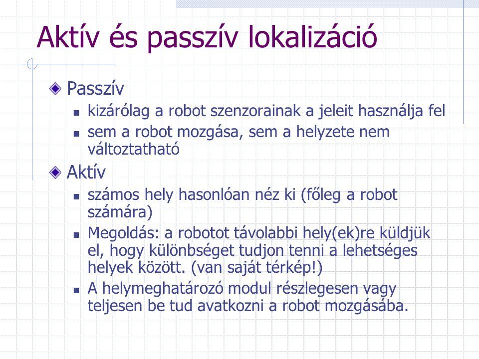 Aktív és passzív lokalizáció Passzív kizárólag a robot szenzorainak a jeleit használja fel sem a robot mozgása, sem a helyzete nem változtatható Aktív számos hely hasonlóan néz ki (főleg a robot számára) Megoldás: a robotot távolabbi hely(ek)re küldjük el, hogy különbséget tudjon tenni a lehetséges helyek között.