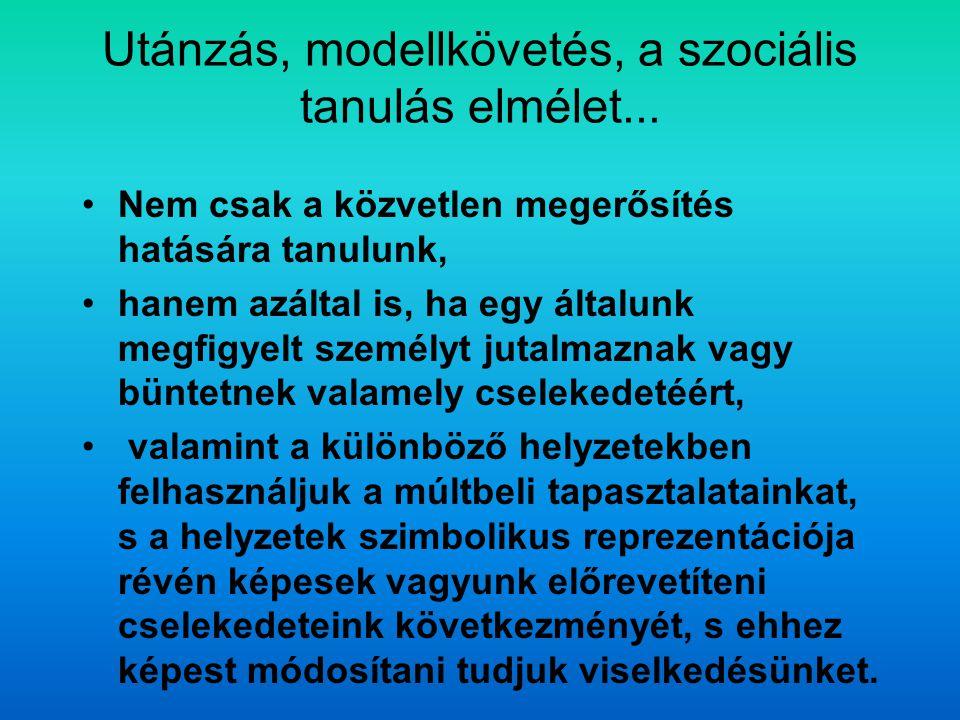 Utánzás, modellkövetés, a szociális tanulás elmélet... Nem csak a közvetlen megerősítés hatására tanulunk, hanem azáltal is, ha egy általunk megfigyel