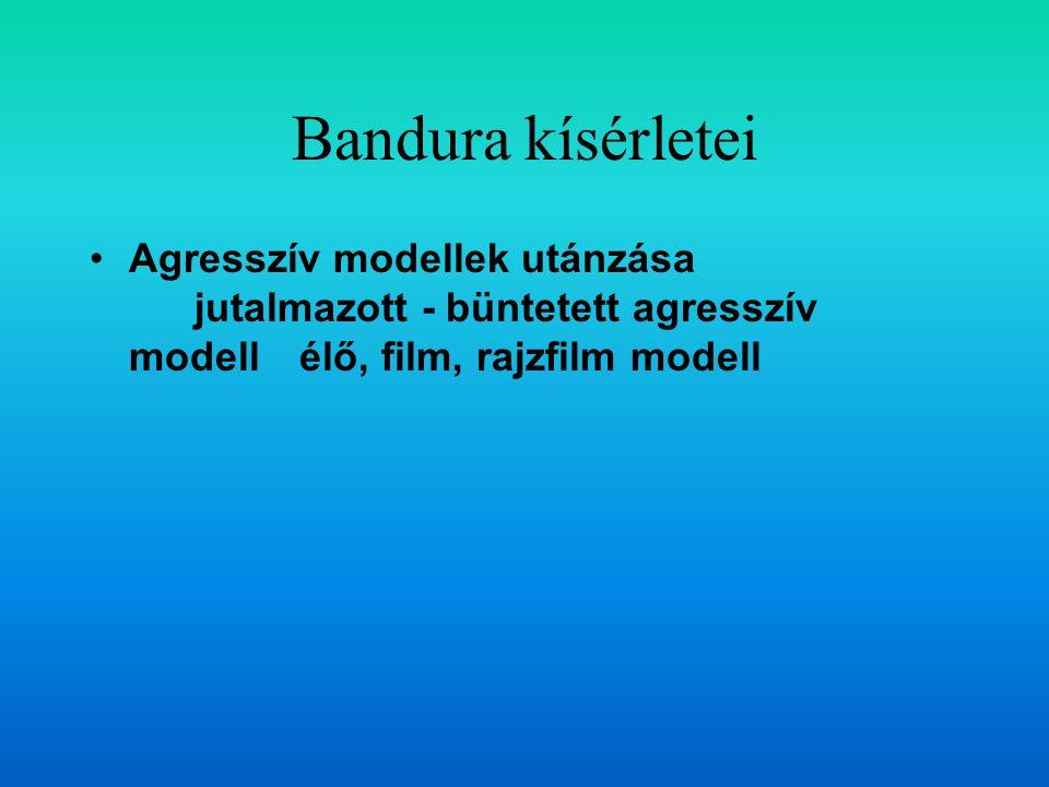 Bandura kísérletei Agresszív modellek utánzása jutalmazott - büntetett agresszív modellélő, film, rajzfilm modell