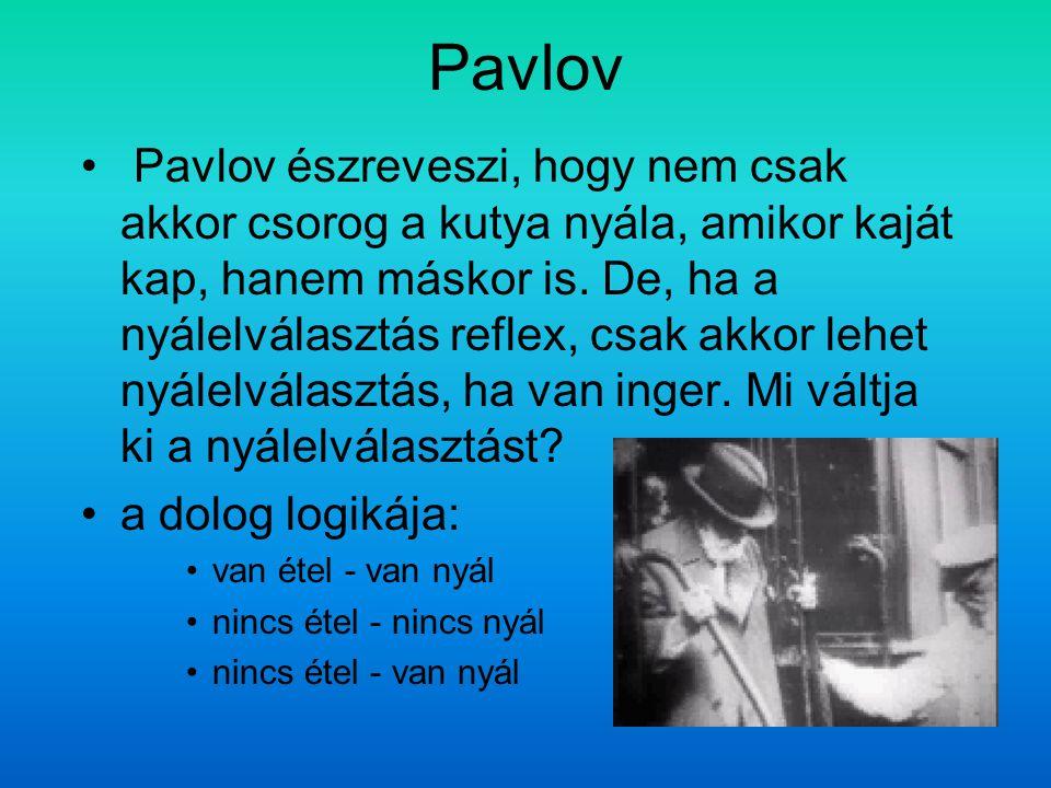 Pavlov Pavlov észreveszi, hogy nem csak akkor csorog a kutya nyála, amikor kaját kap, hanem máskor is. De, ha a nyálelválasztás reflex, csak akkor leh