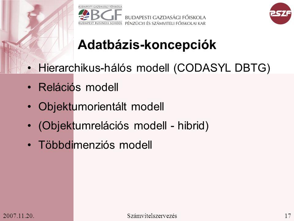 17Számvitelszervezés2007.11.20. Adatbázis-koncepciók Hierarchikus-hálós modell (CODASYL DBTG) Relációs modell Objektumorientált modell (Objektumreláci