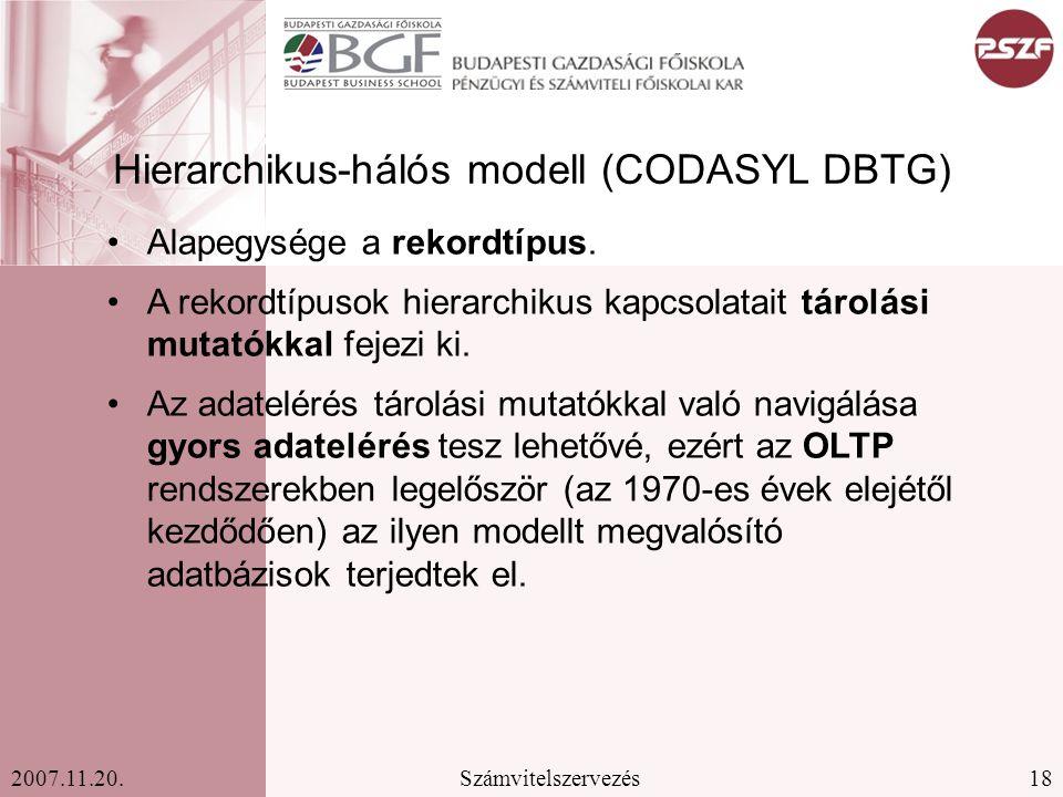 18Számvitelszervezés2007.11.20. Hierarchikus-hálós modell (CODASYL DBTG) Alapegysége a rekordtípus. A rekordtípusok hierarchikus kapcsolatait tárolási