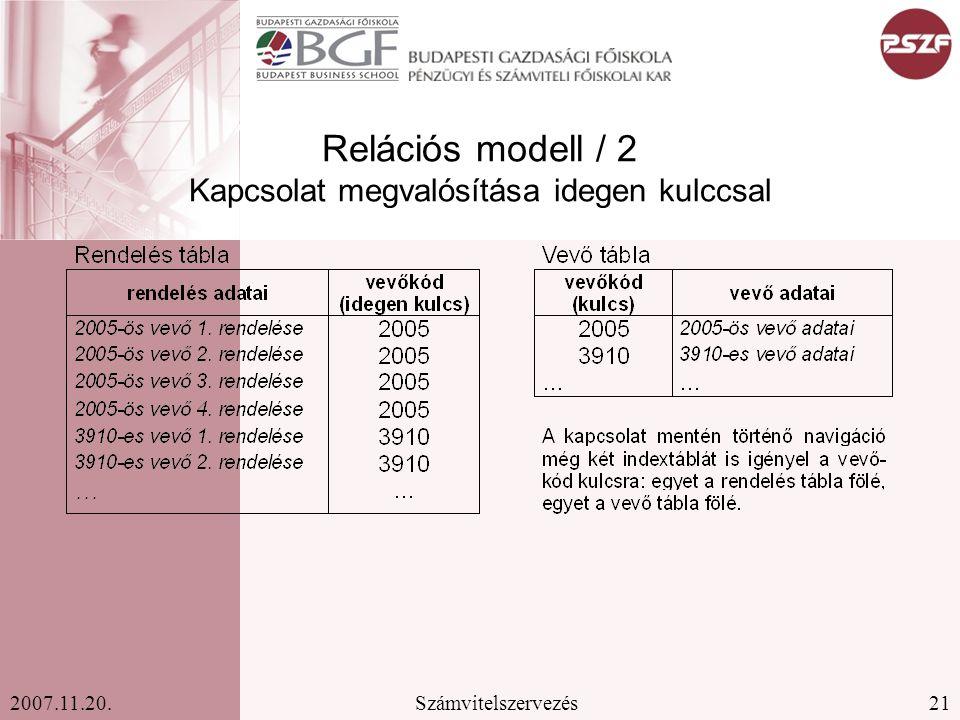 21Számvitelszervezés2007.11.20. Relációs modell / 2 Kapcsolat megvalósítása idegen kulccsal