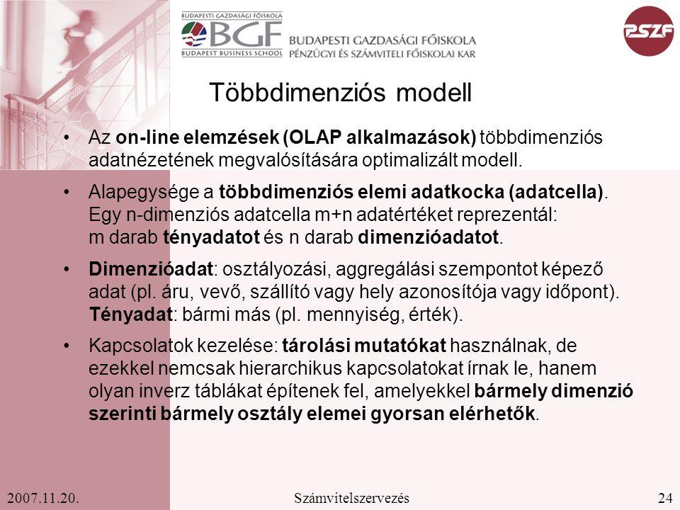 24Számvitelszervezés2007.11.20. Többdimenziós modell Az on-line elemzések (OLAP alkalmazások) többdimenziós adatnézetének megvalósítására optimalizált