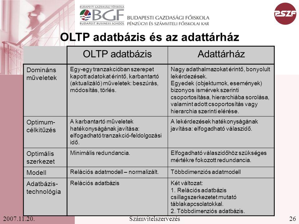 26Számvitelszervezés2007.11.20. OLTP adatbázisAdattárház Domináns műveletek Egy-egy tranzakcióban szerepet kapott adatokat érintő, karbantartó (aktual